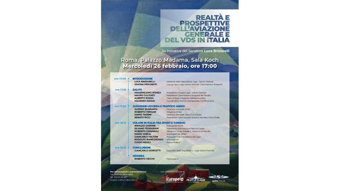 """Convegno """"Realtà e prospettive dell'Aviazione Generale e del VDS in Italia"""" – Palazzo Madama"""