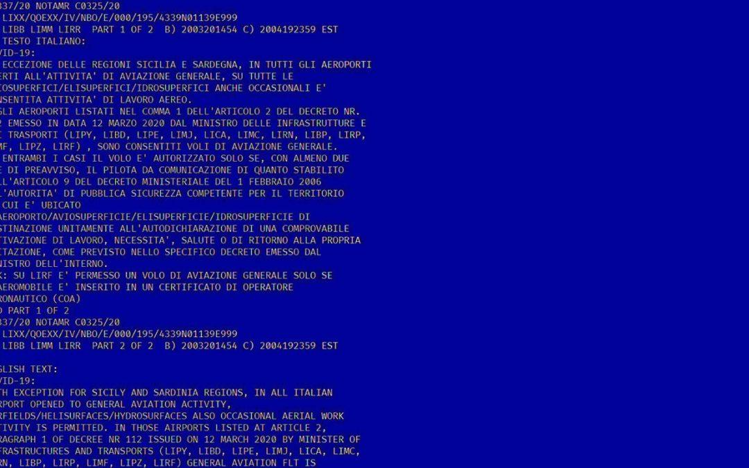 Comunicato ENAC limitazione attività di volo + Notam